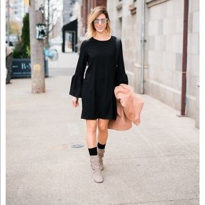 Nordstrom Black Dress with Bell Sleeves